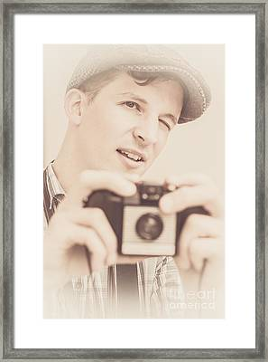 Old Fashion Male Freelance Photographer Framed Print