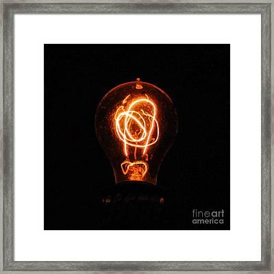 Old Fashioned Edison Lightbulb Filaments Macro Accented Edges Digital Art Framed Print by Shawn O'Brien