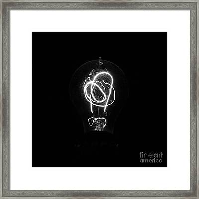 Old Fashioned Edison Lightbulb Filaments Macro Black And White Framed Print by Shawn O'Brien