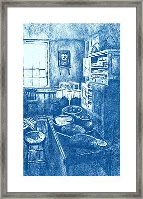 Old Fashioned Kitchen In Blue Framed Print