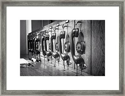 Old-fashioned Wooden Telephone Framed Print by Anja Heid / Eyeem