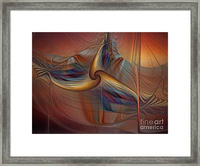 Old-fashionened Swing Boat In The Afterglow Framed Print