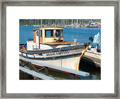 Old Fishing Boat In Sausalito Framed Print by Connie Fox