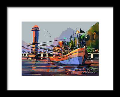 Harbor Scene Framed Prints