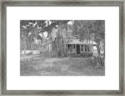 Old Florida House Pencil Framed Print by Ronald T Williams