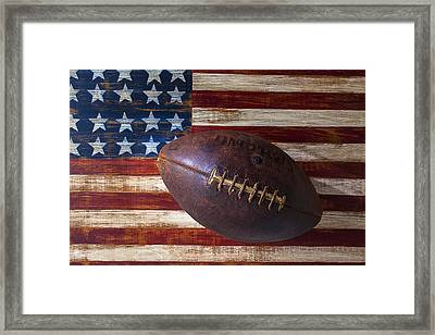 Old Football On American Flag Framed Print