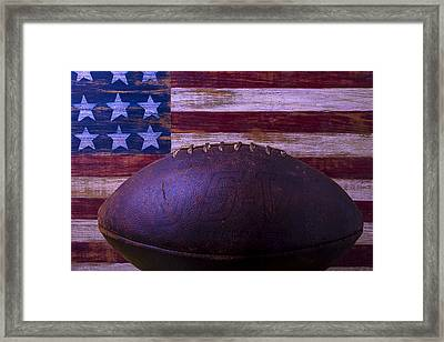 Old Football With Flag Framed Print by Garry Gay