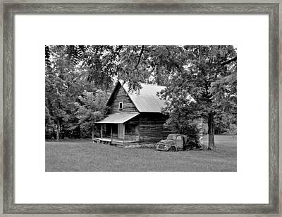 Old Ford And Cabin Framed Print by Bob Jackson
