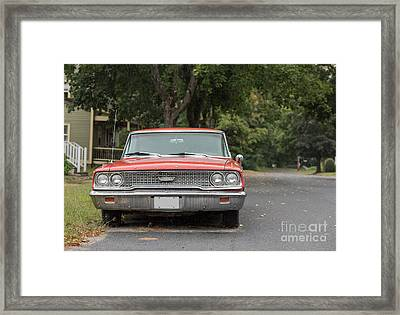 Old Ford Galaxy In The Rain Framed Print by Edward Fielding