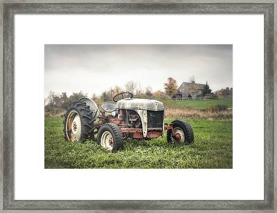 Old Ford Tractor And Farm House Framed Print by Gary Heller