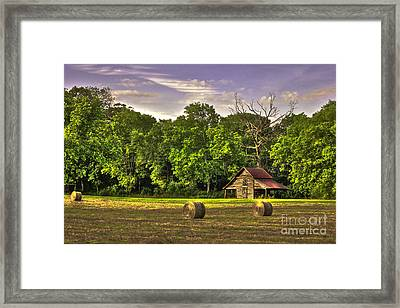 Old Friends The Barn And Oak Tree Framed Print by Reid Callaway