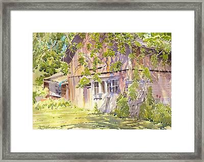 Old Garage Framed Print by David Gilmore