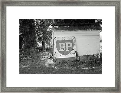 Old Gas Station Sign Framed Print by Carolyn Ricks
