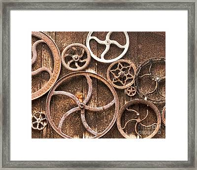 Old Gears In Genoa Nevada Framed Print by Artist and Photographer Laura Wrede