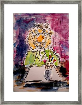 Old Geezer Grappling With A White Sheet Of Paper Framed Print