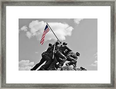 Old Glory At Iwo Jima Framed Print by Jean Goodwin Brooks