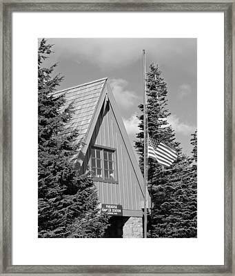 Old Glory At Paradise Ranger Station Bw Framed Print by Connie Fox