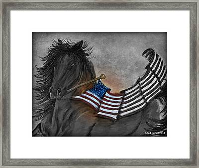 Old Glory Black And White Framed Print by Julie Lowden