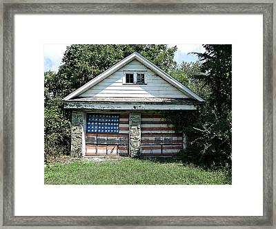 Old Glory Garage  Framed Print by Richard Reeve