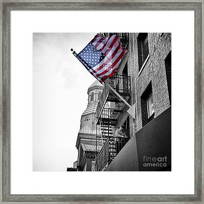 Old Glory Getting Raised Framed Print