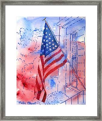 Old Glory In The Neighborhood Framed Print by Peter Plant