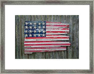 Old Glory In Wood Framed Print