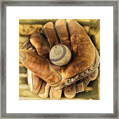 Old Gloves Framed Print by Ron Regalado