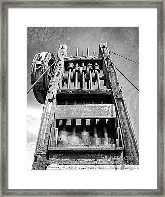 Old Gold Mine Technology In Black And White Framed Print by Lee Craig