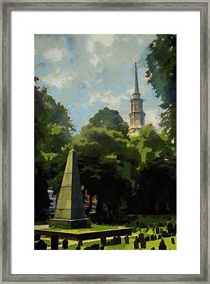 Framed Print featuring the painting Old Granery Burying Ground by Jeff Kolker