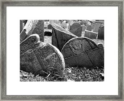 Framed Print featuring the photograph Old Graveyard In Boston by Mary Bedy