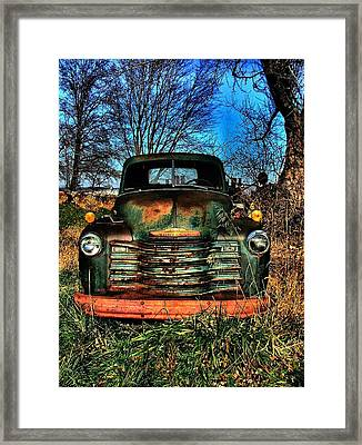 Old Green Chevy Framed Print by Julie Dant