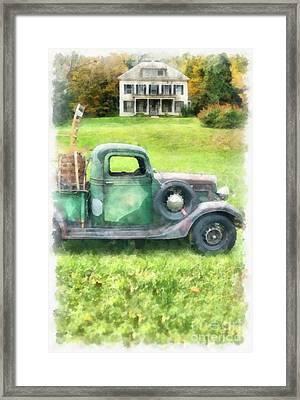 Old Green Pickup Truck Framed Print