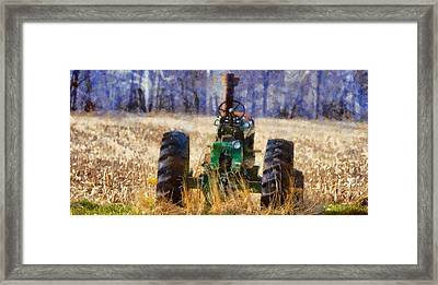Old Green Tractor On The Farm Framed Print