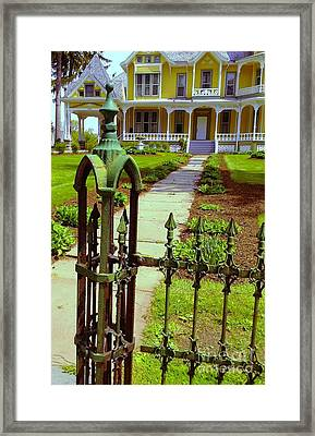 Framed Print featuring the photograph Old Green Wrought Iron Gate by Becky Lupe