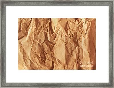 Old Grunge Creased Paper Texture. Retro Vintage Background Framed Print