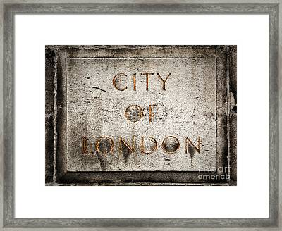 Old Grunge Stone Board With City Of London Text Framed Print