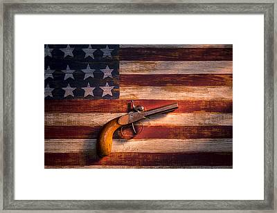Old Gun On Folk Art Flag Framed Print by Garry Gay