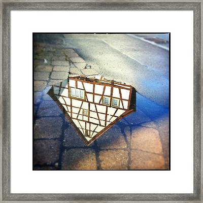 Old Half-timber House Upside Down - Water Reflection Framed Print