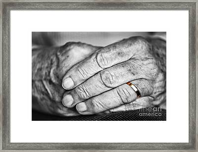 Old Hands With Wedding Band Framed Print by Elena Elisseeva