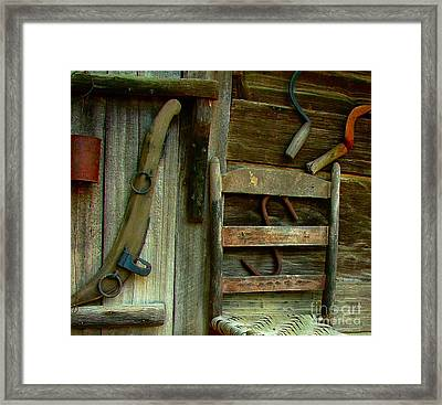 Old Hanging Ladderback Framed Print by Julie Dant