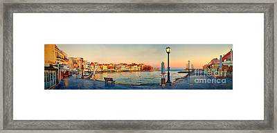 Old Harbour In Chania Crete Greece Framed Print