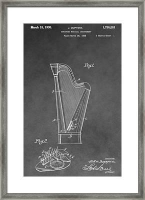 Old Harp Patent Framed Print