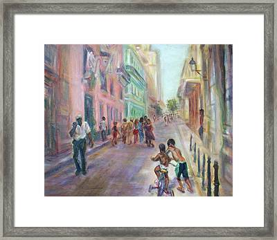 Old Havana Street Life - Sale - Large Scenic Cityscape Painting Framed Print