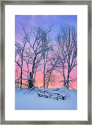 Old Hayrake - Winter Sunset Framed Print