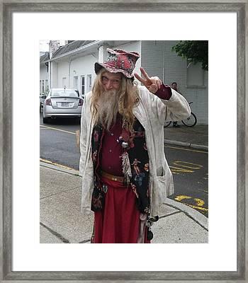 Old Hippie In Woodstock Ny  Framed Print by Anna Ruzsan