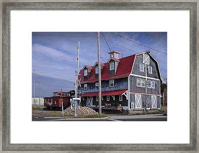 Old Historical Railroad Train Station With Red Caboose In West Michigan Framed Print