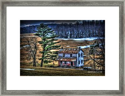 Old Home Place Beside Pine Tree Framed Print by Dan Friend