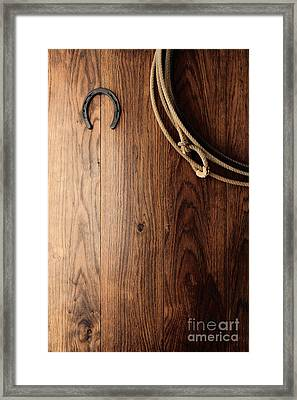 Old Horseshoe And Lariat Framed Print by Olivier Le Queinec