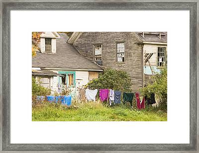 Old House With Laundry Framed Print