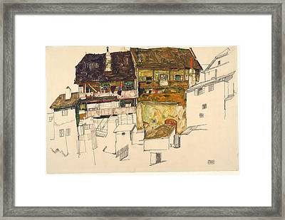 Old Houses In Krumau Framed Print by Egon Schiele